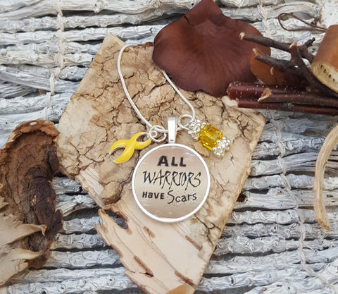 YE-2 Endometriosis Suicide Awareness Endo Jewelry Sarcoma Cancer All Warriors Have Scars Necklace