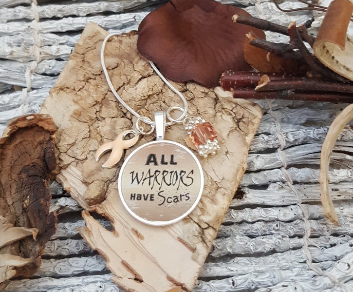 PE-2 Endometrial Cancer Necklace Uterine Cancer Awareness All Warriors Have Scars Necklace