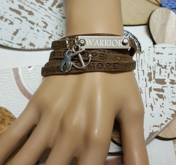 GR-1 Brain Tumor Brain Cancer Awareness Jewelry Wrap Leather Bracelet