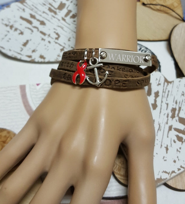 RE-1 Stroke Awareness Heart Disease Stroke Jewelry Wrap Leather Bracelet