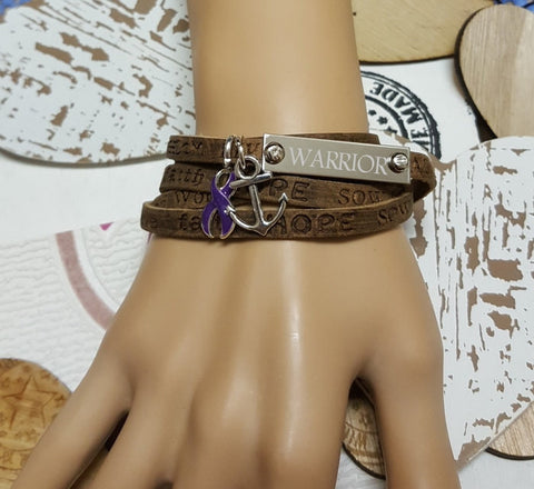 DP-1 Domestic Violence Pancreatic Cancer Awareness Wrap Leather Bracelet