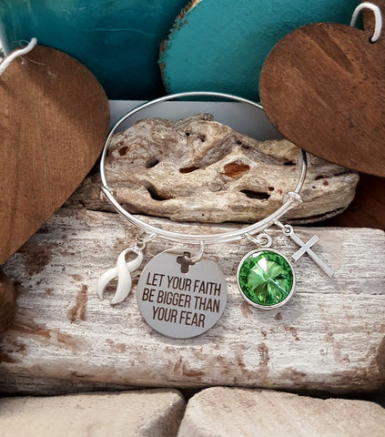 WH-1 Lung Cancer Awareness Violence Against Women Bracelet Faith Bigger Than Fear