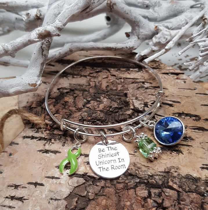 LG-1 Lyme Disease Lung Transplant Gastroparesis Unicorn Bracelet Awareness Jewelry