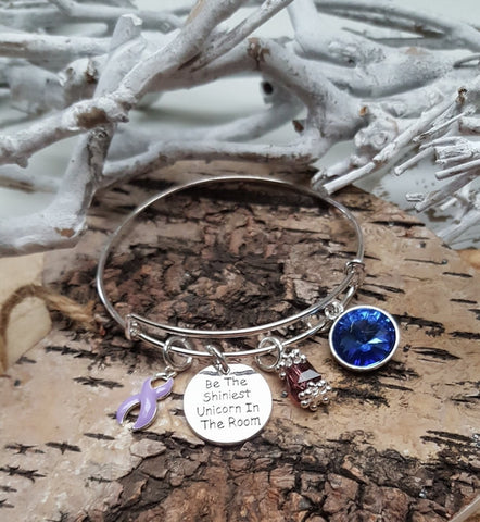 LP-1 Hodgkins Lymphoma Pulmonary Hypertension Unicorn Bracelet Awareness Jewelry
