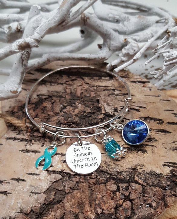 TE-1 Ovarian Cancer Cervical Cancer PCOS Tourettes Unicorn Bracelet Awareness Jewelry