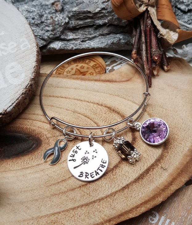 GR-1 BPD Awareness Personality Disorder Schizophrenia Dandelion Bracelet Just Breathe Jewelry