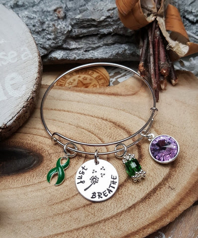 DG-1 Kidney Disease Awareness Organ Donor Kidney Dandelion Bracelet Just Breathe Jewelry