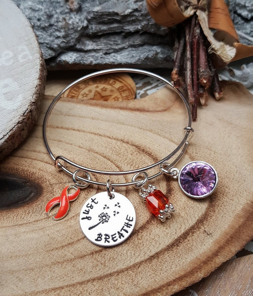 RO-1 Leukemia Multiple Sclerosis RSD MS Awareness Dandelion Bracelet Just Breathe Jewelry