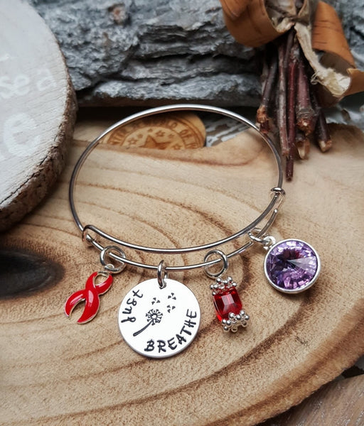 RE-1 AIDS HIV Awareness Alcohol Abuse Survivor Dandelion Bracelet Just Breathe Jewelry