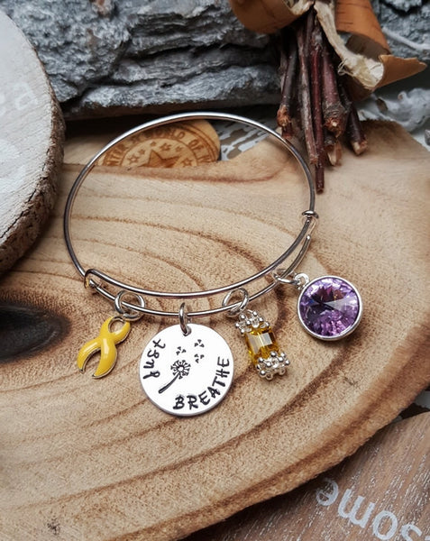 YE-1 Bladder Cancer Sarcoma Spina Bifida Awareness Dandelion Bracelet Just Breathe Jewelry