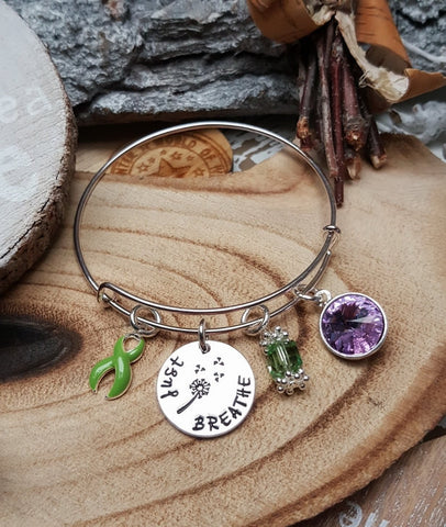 LG-1 Lyme Disease Lymphoma Cancer Awareness Dandelion Bracelet Just Breathe Jewelry