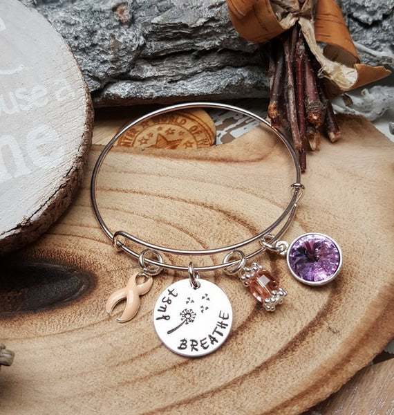 PE-1 Uterine Cancer Endometrial Cancer Awareness Dandelion Bracelet Just Breathe Jewelry