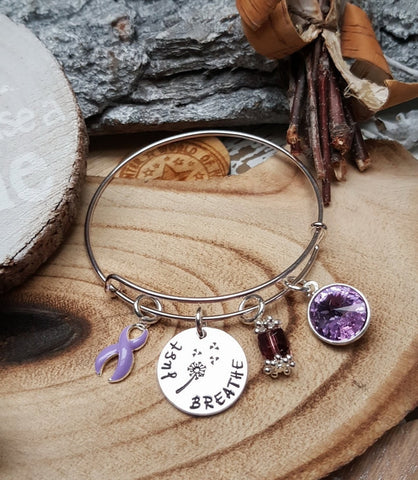LP-1 Eating Disorder Jewelry Esophageal Cancer Awareness Dandelion Bracelet Just Breathe Jewelry