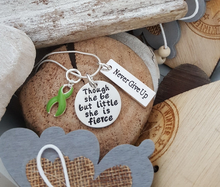 LG-2 Lyme Disease Lymphoma Cancer Gastroparesis Awareness Necklace Little She Is Fierce