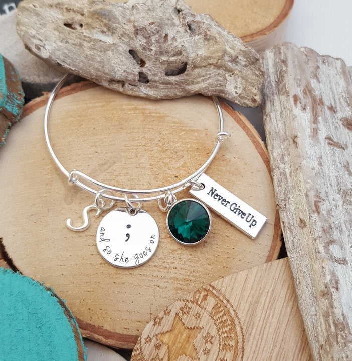 FN Soul Sister Jewelry Semicolon Jewelry And So She Goes On Bracelet Gift