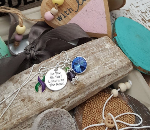 GP-5 Hemiplegic Migraine Fibromyalgia & Lyme Disease Unicorn Necklace Awareness