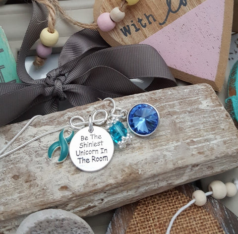 TE-2 Ovarian Cancer Cervical Cancer PCOS Tourettes Unicorn Necklace Awareness Jewelry
