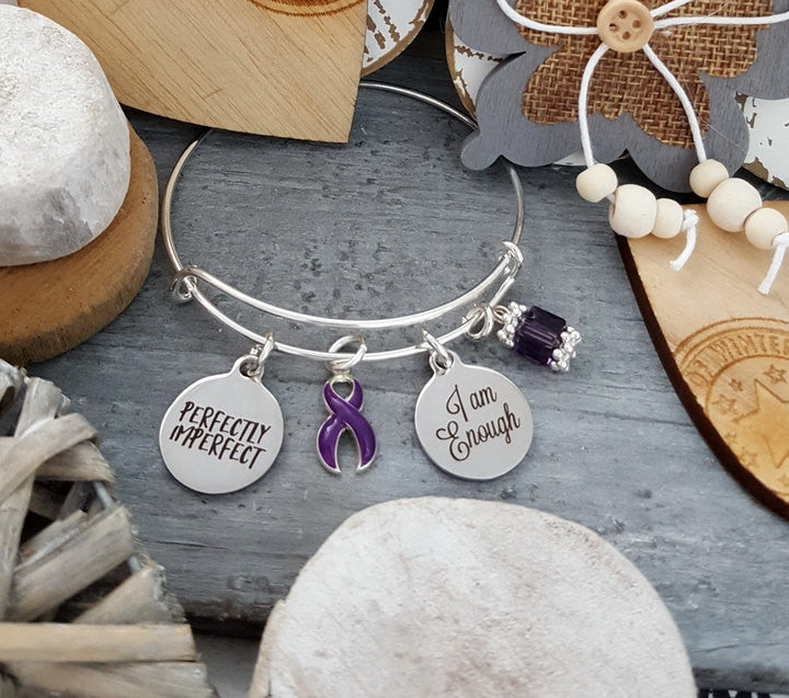 DP-1 Fibromyalgia Crohns Ulcerative Colitis Awareness Bracelet I Am Enough Perfectly Imperfect
