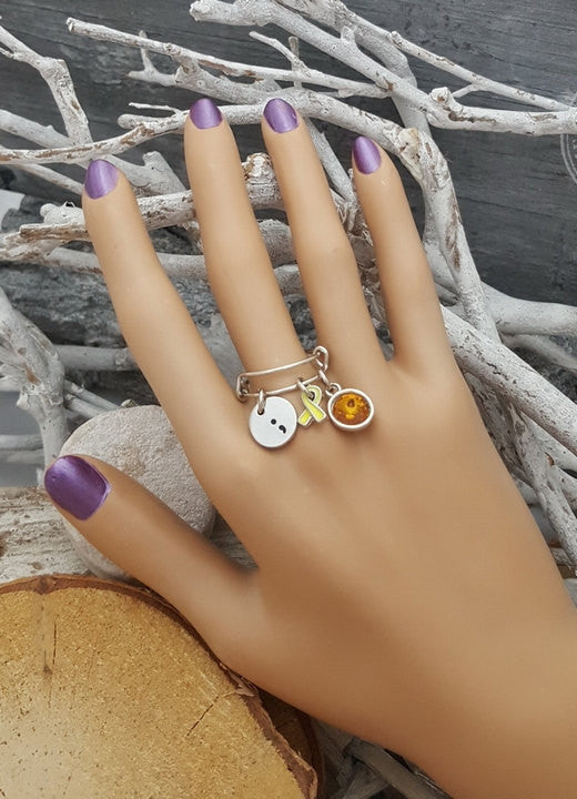 YE-6 Endometriosis Awareness Suicide Sarcoma Semicolon Jewelry Adjustable Ring