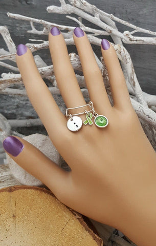 LG-6 Mental Health Awareness Depression Bipolar Semicolon Jewelry Adjustable Ring