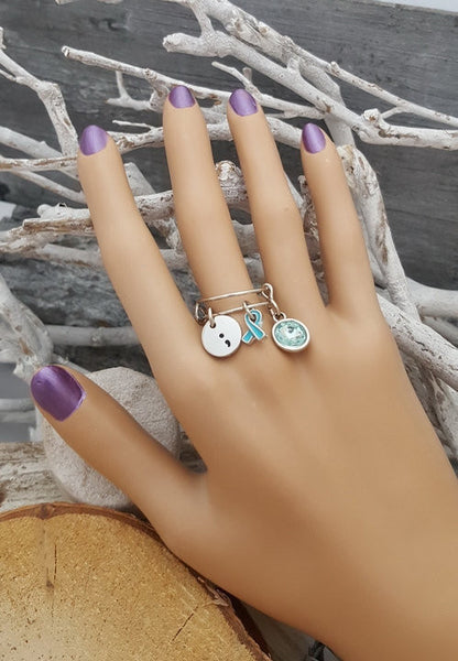 TE-6 Ovarian Cancer Awareness Cervical Cancer PCOS Jewelry Semicolon Adjustable Ring