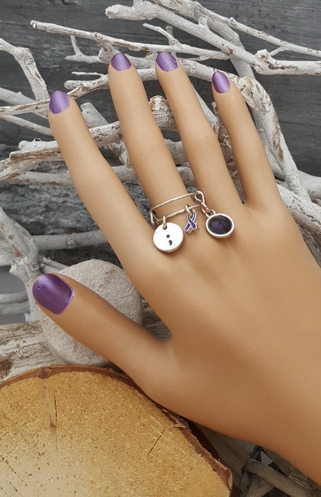 DP-6 Chiari Awareness Semicolon Ulcerative Colitis Fibromyalgia Adjustable Ring