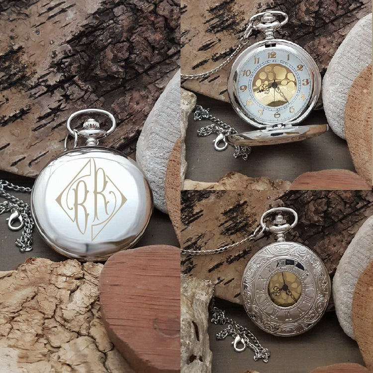 PW Husband Fiance Brother Engraved Pocket Watch Gift - Diamond Monogram Initials