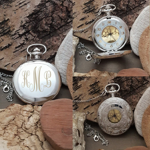 PW Best Man Groomsmen Engraved Pocket Watch Gift - Swirl Monogram Initials