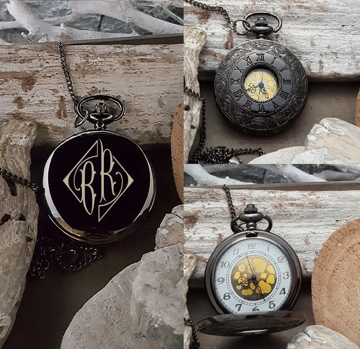 PW Father of the Groom Engraved Pocket Watch Gift - Diamond Monogram Initials