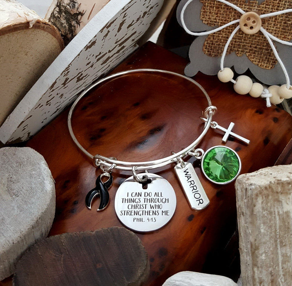 BL-1 Narcolepsy Bracelet Melanoma Awareness Jewelry All Things Through Christ Bracelet