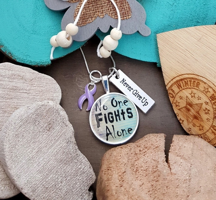 LP-2 Eating Disorder Stomach Cancer Awareness Necklace No One Fights Alone
