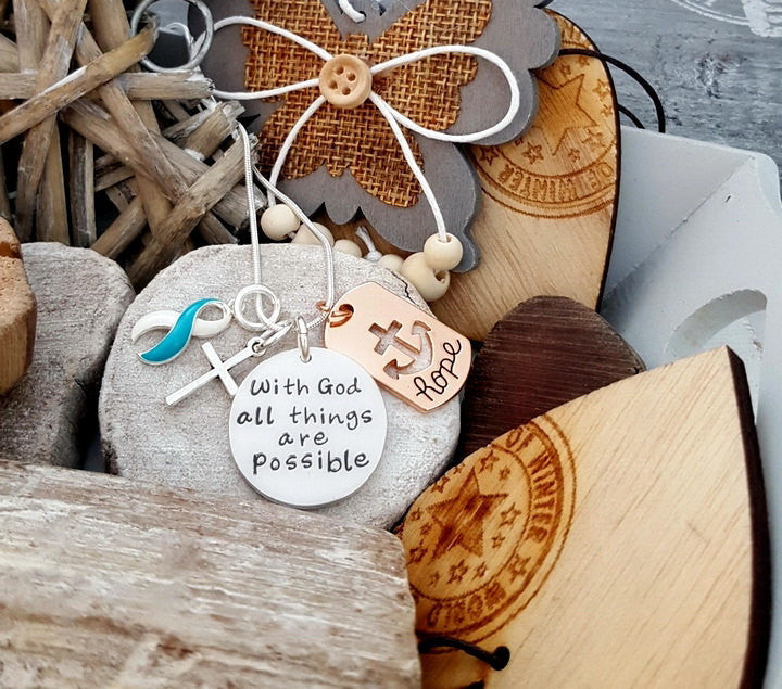 TW-5 Eating Disorder Recovery Jewelry Awareness Necklace With God All Things Are Possible