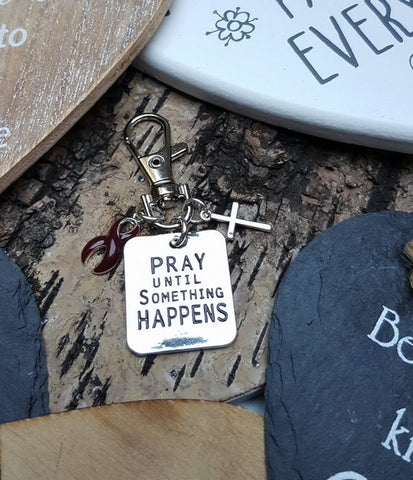 BU-3 Brain Aneurysm Multiple Myeloma Awareness Pray Until Something Happens Keychain