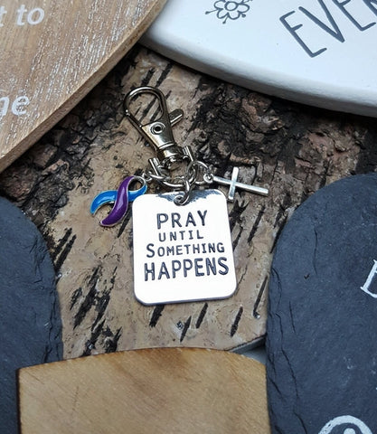 BP-6 Rheumatoid Arthritis Pediatric Stroke ME CFS Awareness Pray Until Something Happens Keychain