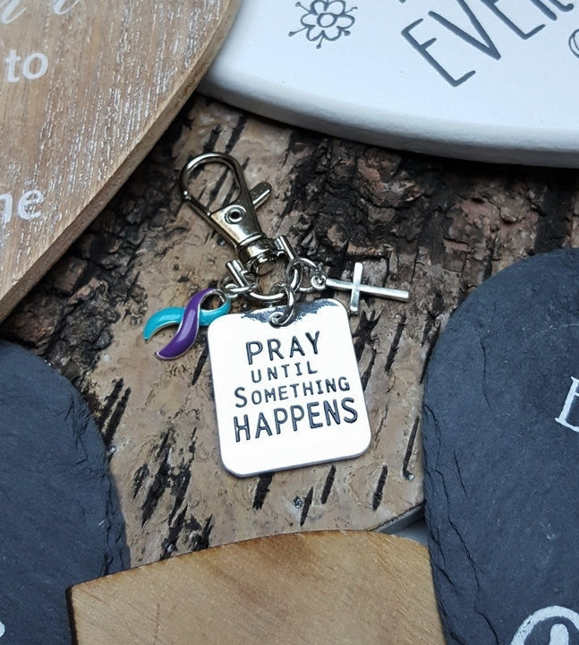 TP-6 Domestic Violence Sexual Assault Suicide Prevention Pray Until Something Happens Keychain