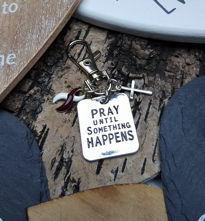 BY-6 Head & Neck Cancer Throat Cancer Oral Cancer Awareness Pray Until Something Happens Keychain