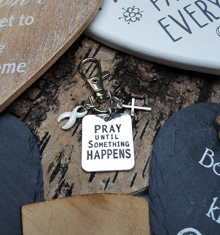 WH-3 Lung Cancer Violence Against Women Awareness Pray Until Something Happens Keychain