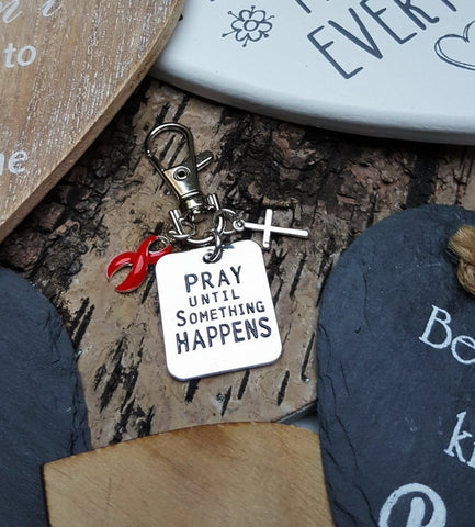 RE-3 Stroke Awareness Heart Disease Stroke Survivor Pray Until Something Happens Keychain