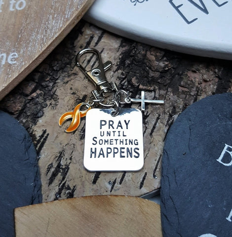 GO-3 Appendix Cancer Childhood Cancer Awareness Pray Until Something Happens Keychain