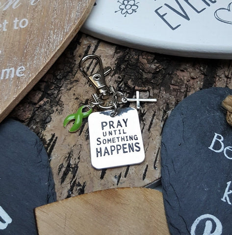LG-3 Mental Health Depression Bipolar Disorder Awareness Pray Until Something Happens Keychain