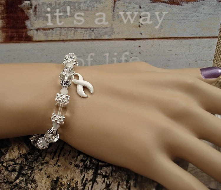 WH-1 Lung Cancer Awareness Jewelry Beaded Bracelet