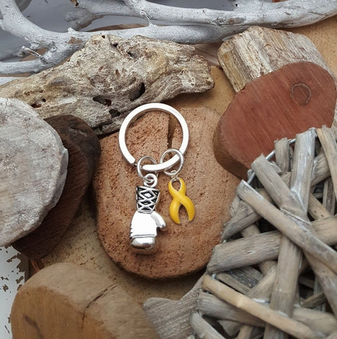 YE-3 Endometriosis Sarcoma Suicide Spina Bifida Awareness Boxing Glove Keychain