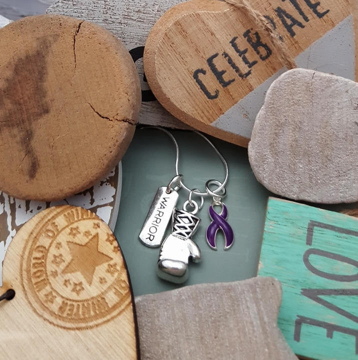 DP-2 Cystic Fibrosis Awareness Pancreatic Cancer Crohns Lupus Warrior Necklace Boxing Glove Charm