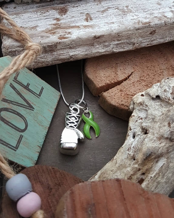 LG-2 Lung Transplant Awareness Lyme Disease Boxing Glove Charm Necklace Keep Fighting