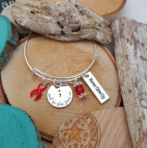 RE-1 Heart Disease Stroke Awareness So She Goes On Semicolon Bracelet