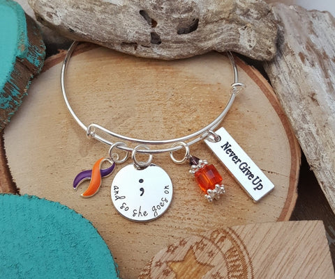 OP-4 CRPS Psoriatic Arthritis Ramsay Hunt Awareness So She Goes On Semicolon Bracelet