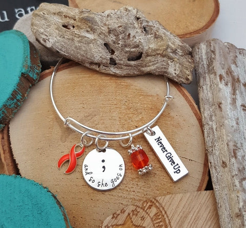 RO-1 Kidney Cancer Multiple Sclerosis Leukemia Awareness So She Goes On Semicolon Bracelet
