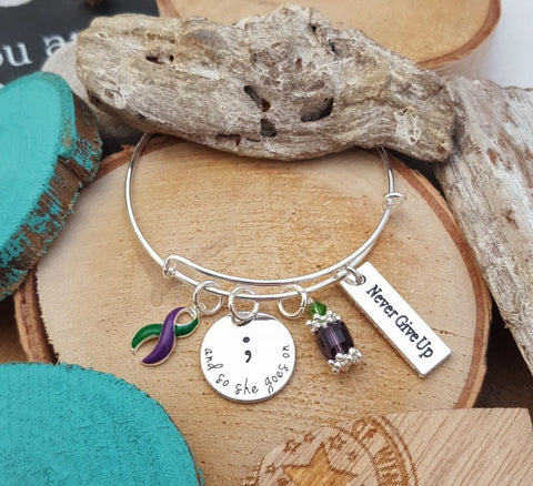 GP-4 Hemiplegic Migraine Awareness And So She Goes On Semicolon Bracelet