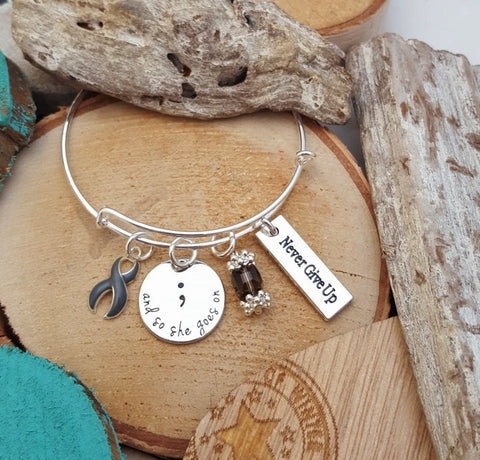 GR-1 Brain Tumor Brain Cancer Awareness And So She Goes On Semicolon Bracelet