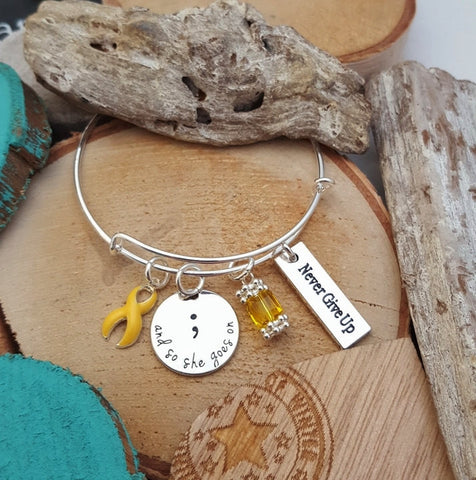 YE-1 Endometriosis Sarcoma Spina Bifida Awareness So She Goes On Semicolon Bracelet